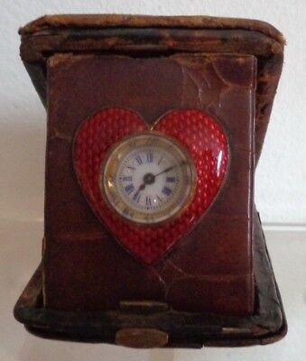Antique Edwardian Swiss Made Novelty Red Guilloché Heart Shaped Travel Clock