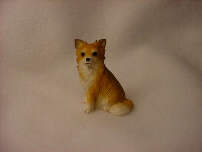 CHIHUAHUA long haired puppy TiNY DOG Figurine HAND PAINTED MINIATURE Mini Small