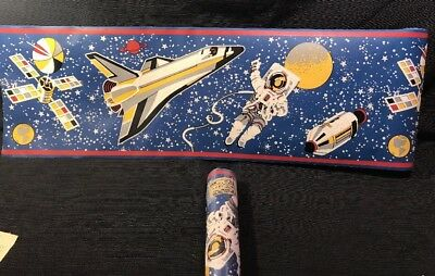 10 yd Astronaut Outer Space Wall Paper Border C&A BY1101B Pre-pasted
