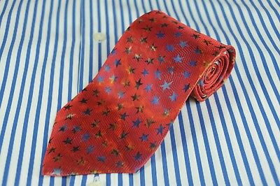 Hugo Boss Men's Tie Red Blue & Yellow Stars Geometric Silk Necktie 60 x 3.5 in.