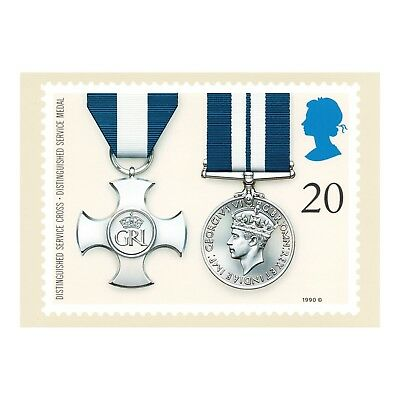 DISTINGUISHED SERVICE CROSS and MEDAL - ROYAL MAIL SERIES PHQ 129 1990 POSTCARD