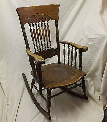 Antique Oak Armed Pressed back Rocker – Leather Seat Insert