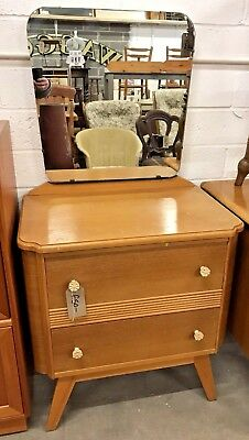Very Quaint Small Art Deco 1930's Vintage Dressing Table With Drawers & Mirror
