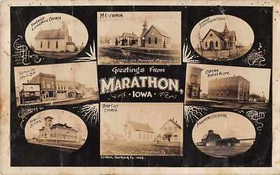 Marathon Iowa Greetings Multiview Buildings Real Photo Antique Postcard J76707