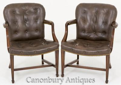 Pair Hepplewhite Elbow Chairs Mahogany Arm Chair