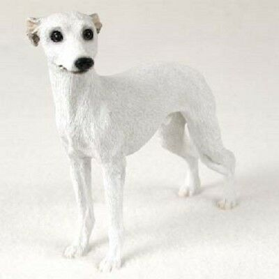 WHIPPET Dog HAND PAINTED FIGURINE Resin Statue COLLECTIBLE White puppy NEW