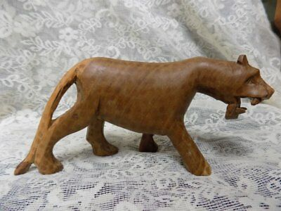 "Vintage Hand Carved Spotted Leopard~8.5"" X 4""~Estate Find"