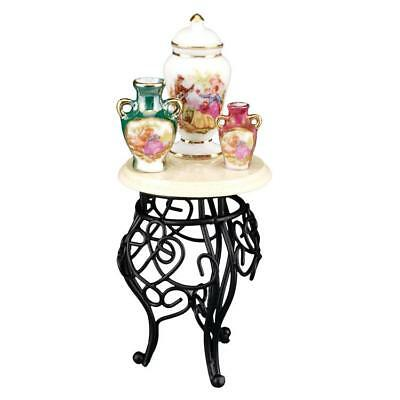 Dollhouse Wrought Iron Side Table w Vases 1.704/5 Reutter Miniature 2018