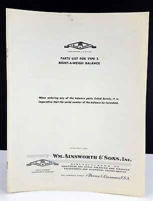 Vintage Ainsworth and Sons Right-A-Weigh Balance Type S Parts List Booklet