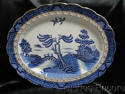 """Booths Real Old Willow, Gold Trim: Oval Platter 15"""" x 11 7/8"""""""