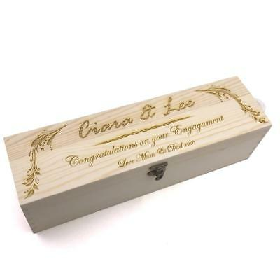 Personalised Wooden Wine Bottle Box, Engraved Champagne Engagement Gift STO025-2