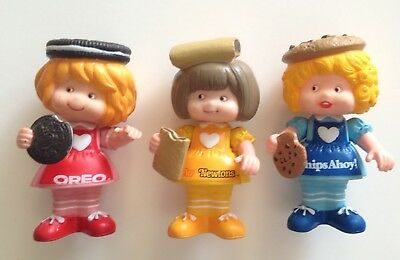 3 NABISCO COOKIES Vinyl Dolls, 1983, Hong Kong, OREO, FIG NEWTON, CHIPS AHOY!