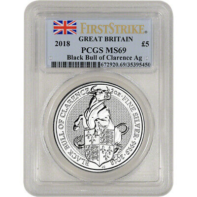 2018 Great Britain Silver Queen's Beasts Black Bull £5 - PCGS MS69 First Strike