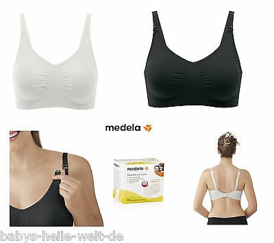 2 Nursing Bra Ultra Soft Medela Black+White +30 Nursing Pads