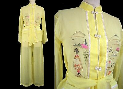 1940's HAND PAINTED PAJAMAS Vintage Sheer Tissue Paper Silk Asian Blouse WWII