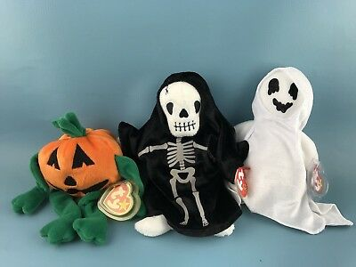 Ty Beanie Baby  THE HALLOWEEN PUMPKIN, SHEETS GHOST, CREEPERS SKELETON LOT OF 3
