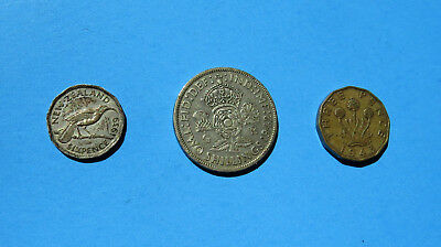Lot 3 Coins New Zealand 1939 Six Pence 1942 Two Shillings 1943 Three WWII Silver