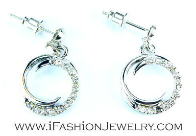 Spiral Silver Round Circle Sign Hollow Metal Dangle Earrings Art Fashion Jewelry
