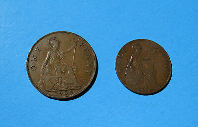 Lot 2 UK Coins - 1922 Half Penny and 1936 One Penny Great Britain Bronze Coin