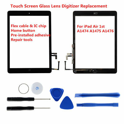 Black Touch Screen Glass Digitizer For iPad Air 5 w/ Home Button Adhesive Tools
