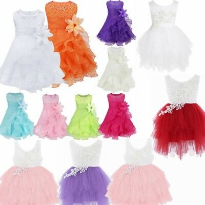 Kids Baby Girl Flower Wedding Bridesmaid Party Pageant Tutu Christening Dress