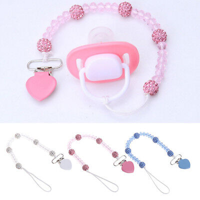 Cute Baby Pacifier Clips Crystal Soother Chain Dummy Soother Leash Strap Nipple