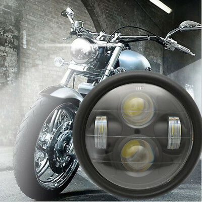6.5'' Motorcycle Universal Matte Black LED Headlight High Low Beam Cafe Racer