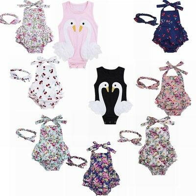 Toddler Baby Girl Floral Ruffles Romper Bodysuit Jumpsuit Outfit Sunsuit Clothes