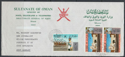 1981 Cover OMAN to Germany, SEEB cds, new value surcharge [bl0436]