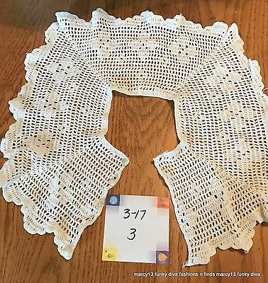 Elegant Vintage Hand Made White Hand Crocheted Collar with Four Button