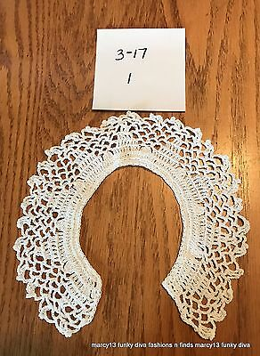 Elegant Vintage Hand Made White Hand Crocheted Collar No Button