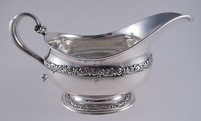 Tiffany Sterling Double Floral Band Gravy Sauce Boat Antique