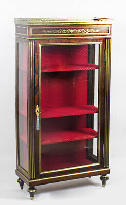 Antique Russian Brass Inlaid Neoclassical Display Cabinet  19th C
