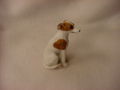 WHIPPET brindle white puppy TiNY Dog FIGURINE Resin MINIATURE Mini Pet Statue