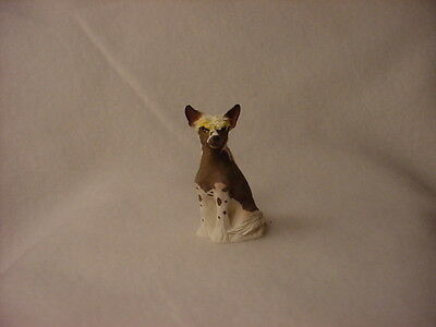 CHINESE CRESTED puppy TiNY DOG Resin Figurine HAND PAINTED MINIATURE Mini Statue
