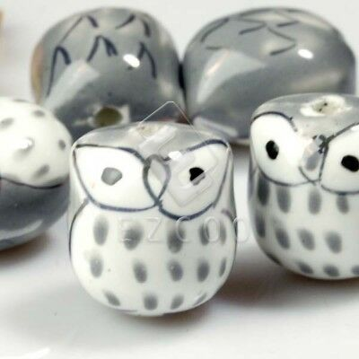 10pcs Porcelain Owl Spacer Beads charm 17x15mm Jewelry Finding Gray DIY PB0005