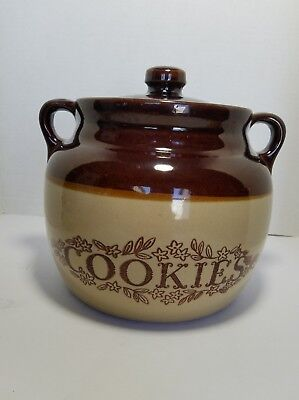 Vintage Bean Pot Cookie Jar USA Monmouth Pottery Brown Beige