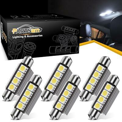 6x White 42MM Festoon 5050 LED Light Dome 4SMD Error Free Car Interior Bulbs 578