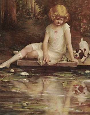 Girl by Pond with Puppy and Frog by Zula Kenyon