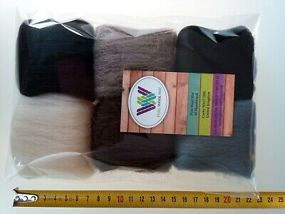 Animal set* Pure Merino Wool Tops for Felting, 6 colours: grey brown black, 30 g