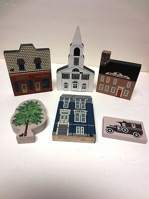 Cats Meow, Four Buildings 1989? 1986 1987 1988 all Signed Faline '89 + 2 Extra's