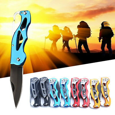 EDC Multifunction Folding Knife Key Ring Hunting Camping Peeler Survival Blade