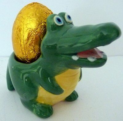 Smiling Big Green Crocodile Egg Cup! Brand New! Great For Collectors!