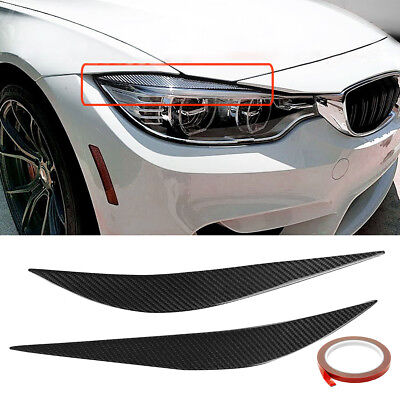Carbon Fiber Headlight Eye Lid Cover Eyebrows For 2014-18 BMW F80 M3 F82 F83 M4