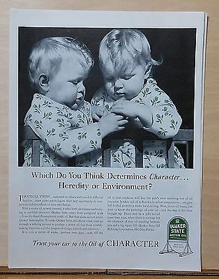 1940 magazine ad for Quaker State Oil - twins in matching floral print pajamas