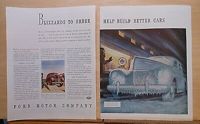 1939 two page magazine ad for Ford - Weather Tunnel Test, Deluxe Fordor Sedan