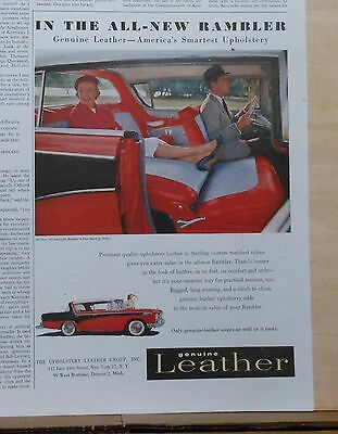 Vintage 1955  magazine ad for Rambler - Genuine leather upholstery, sedan