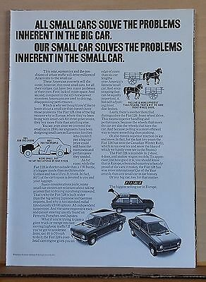 1972 magazine ad for Fiat - Solves the problems inherent in the small car