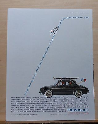 1961 magazine ad for Renault Dauphine - Winter Wonder-Car, Let it snow on we go