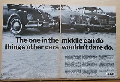 1967 two page magazine ad for Saab - Does what other cars wouldn't dare